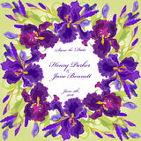 Wedding card with purple iris flower wreath background. Vector illustration Stock Images
