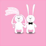 Wedding card rabbits Stock Photos