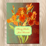 Wedding card with red iris flower wreath background. Vector illustration Stock Photo