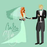 Wedding Card in Retro Style. Marry Me. Grunge Lettering. Red bride in green dress and groom. Stock Photo