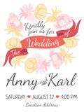 Wedding card with ribbon and vector flower design Stock Image