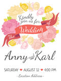 Wedding card with ribbon and vector flower design Royalty Free Stock Photos