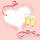 Wedding card with rings and glasses Stock Photos