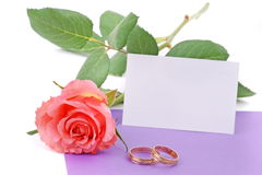 Wedding card and rose with wedding rings Royalty Free Stock Photo