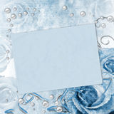 Wedding card with roses in blue Stock Images