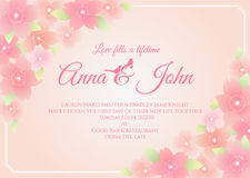 Wedding card - sakura flower frame on soft pink background vector template design Royalty Free Stock Photography
