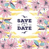 Wedding card Save the date lettering. Floral frame drawing flowers Stock Images