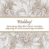 Wedding card with seamless pattern of lily flowers Royalty Free Stock Images