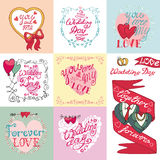Wedding card set.Invitations,Labels,decorative Royalty Free Stock Photos