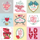 Wedding card set.Invitations,Labels,decorative Royalty Free Stock Photography
