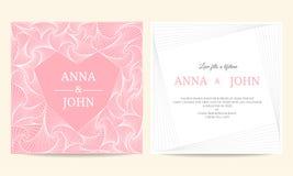 Wedding card - spiral line heart frame vintage vector template design Royalty Free Illustration