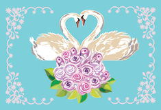 Wedding card with swans Royalty Free Stock Photos