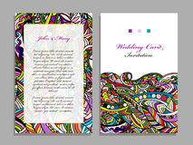 Wedding card template, abstract colorful design Royalty Free Stock Photos