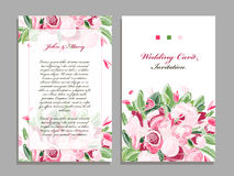 Wedding card template, floral design Stock Photography