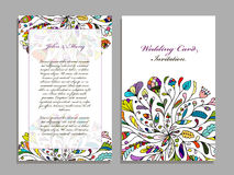 Wedding card template, floral design Royalty Free Stock Images