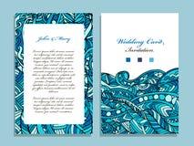Wedding card template, marine design Stock Photography