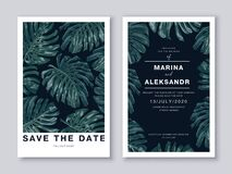 Free Wedding Card Template, Save The Date Template, Poster, Banner, Postcard For Loved Ones With Realistic Vector Tropical Leaves Of Mo Royalty Free Stock Images - 197892779