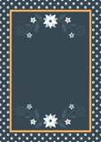 Wedding card template with white flowers. And golden frame Royalty Free Stock Images