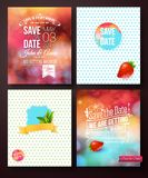 Wedding card templates on abstract backgrounds Royalty Free Stock Images