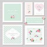 Wedding card templates set. Decorated with roses. Stock Photography