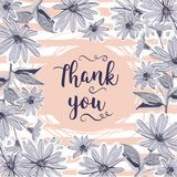 Wedding card Thank you lettering. Floral frame drawing flowers, chamomiles Royalty Free Stock Photos