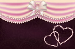 Wedding card with two pearls heart, vector Royalty Free Stock Images