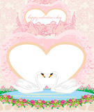 Wedding card with two romantic swans Royalty Free Stock Photography