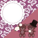 Wedding card with two teddy bears Royalty Free Stock Images