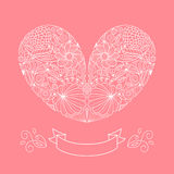 Wedding card in vector with floral heart and ribbon. Wedding card in vector with floral heart and ribbon Stock Photography