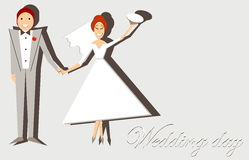 Wedding card. Vector illustration of wedding card stylized as a paper application. Solid fill only Royalty Free Stock Photos