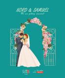 Wedding card in vintage style Stock Photography