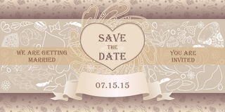 Wedding card in vintage style. Royalty Free Stock Photos