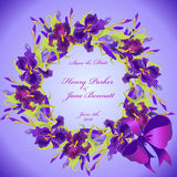 Wedding card with violet iris flower wreath background. Vector illustration Royalty Free Stock Photos