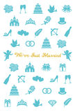 Wedding card with wedding icons. Stock Photo