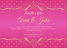 Wedding card - White abstract gold vintage frame  and gold dot on pink background vector template design Stock Photos