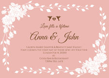 Wedding card - White abstract rose floral frame on rose pink background vector template design Royalty Free Stock Image
