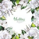 Wedding card with white floral design. Stock Photos