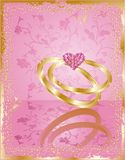 Wedding card wiht rings, vector Stock Photo