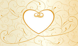 Wedding Card With Rings And Heart Stock Photography