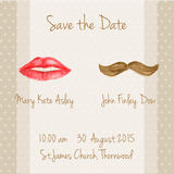 Wedding  card with woman lips and men moustaches. Stock Images