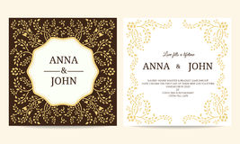 Wedding card - Yellow and Brown creeping plant frame vintage vector template design Stock Photography