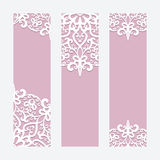 Wedding cards or banners with lace ornament Royalty Free Stock Photo