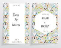 Wedding cards. Based on a pattern with twisted polygonal elements Two cards with different design and composition Stock Image