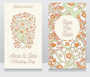 Wedding cards with beautiful orient ornament Stock Photos