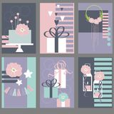 Wedding cards with cake, flowers.Vector illustration Royalty Free Stock Photo