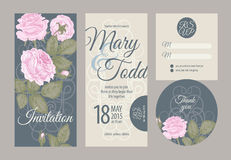 Wedding cards. Wedding card collection. Vector graphics depicting vintage Victorian roses. Invitation, thank you, rsvp Royalty Free Stock Photos