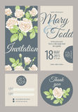 Wedding cards. Wedding card collection. Vector graphics depicting vintage Victorian roses. Invitation, thank you, rsvp Royalty Free Stock Photo