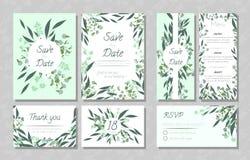 Wedding Cards with Eucalyptus. vector illustration
