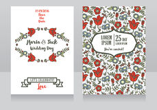 Wedding cards with folkloric flowers Royalty Free Stock Photography