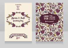 Wedding cards with folkloric flowers Stock Photos